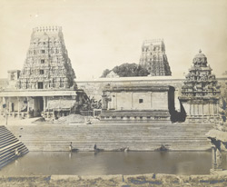 A view of the tank from the east, Ekambreswaraswami Temple, Conjeevaram